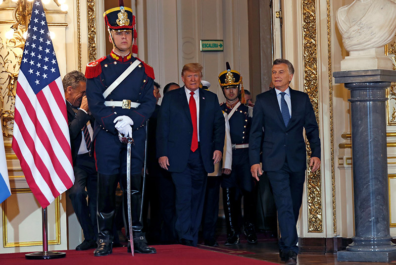 US President Donald Trump and Argentina's President Mauricio Macri meet before the G20 leaders summit in Buenos Aires, Argentina, on November 30, 2018. Photo: Reuters