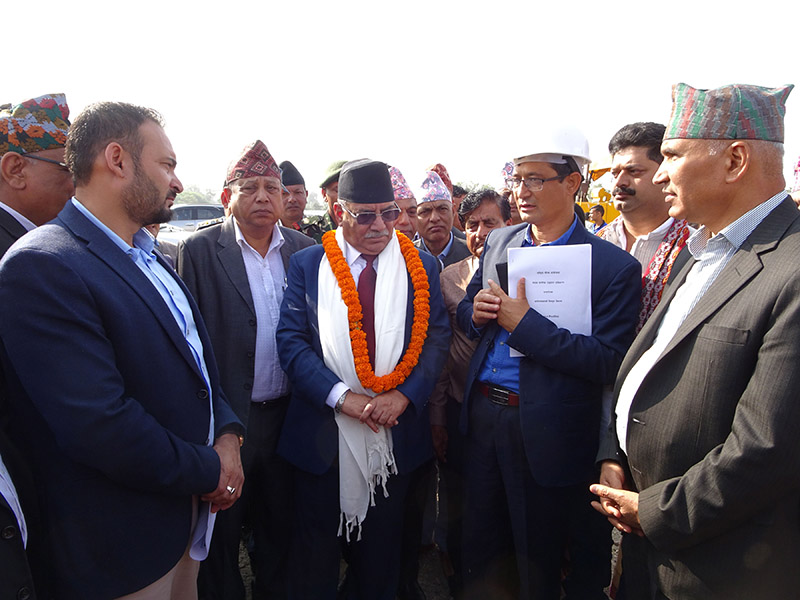 Co-Chair of Nepal Communist Party (NCP) Pushpa Kamal Dahal carrying out an inspection of the national pride project -- Gautam Buddha International Airport, in Bhairahawa, on Saturday, November 3, 2018. Photo: RSS