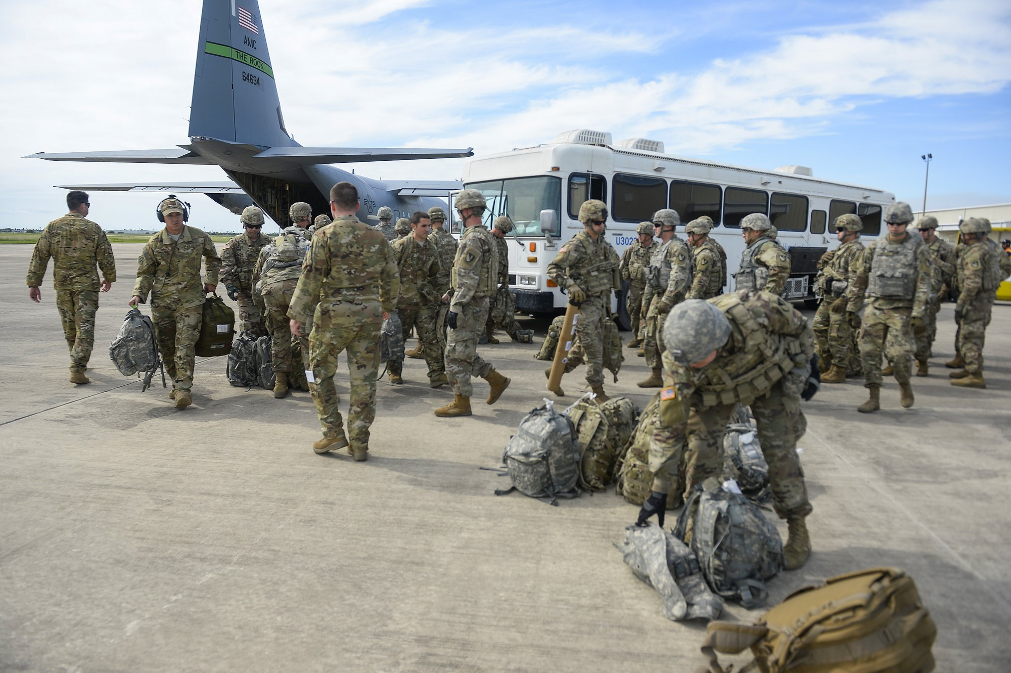 In this photo provided by the US Air Force, soldiers from the the 89th Military Police Brigade, and 41st Engineering Company, 19th Engineering Battalion, Fort Riley, Kan., arrive at Valley International Airport, Thursday, Nov. 1, 2018, in Harlingen, Texas, to conduct the first missions along the southern border in support of Operation Faithful Patriot. Photo: AP