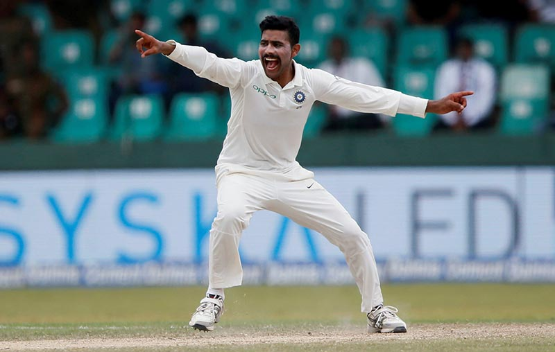FILE PHOTO - India's Ravindra Jadeja in action during the Second Test Match between Sri Lanka and India, at Colombo, Sri Lanka, on August 6, 2017. Photo: Reuters