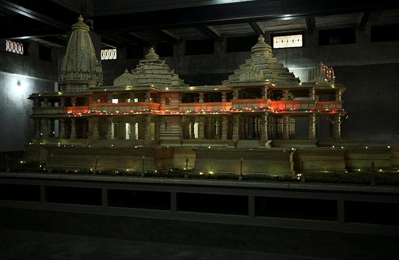 FILE PHOTO: A model of a proposed Ram temple, which Hindus want to build on the site of the demolished Babri Mosque, is pictured in the northern Indian town of Ayodhya September 30, 2010. Photo: Reuters