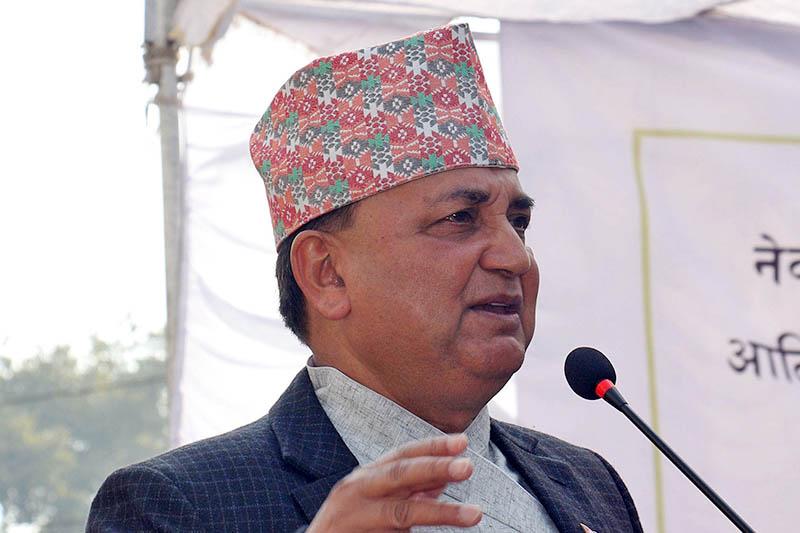 NCP (NCP) leader Ishwor Pokhrel speaks at a programme in Kathmandu, on Friday, November 16, 2018. Photo: RSS
