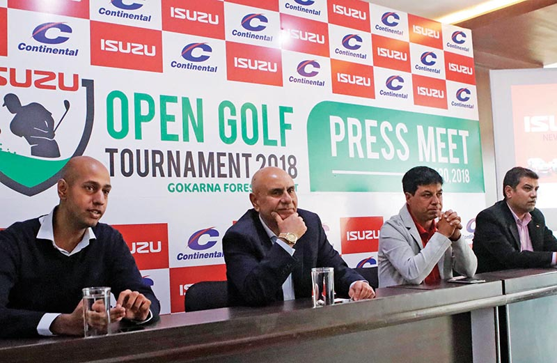 Chairman of Continental Trading Pvt Ltd Suhrid Ghimire (second from left) and Senior Golf Director at Gokarna Forest Resort Deepak Acharya (second from right) at a press meet in Kathmandu on Tuesday. Photo: THT