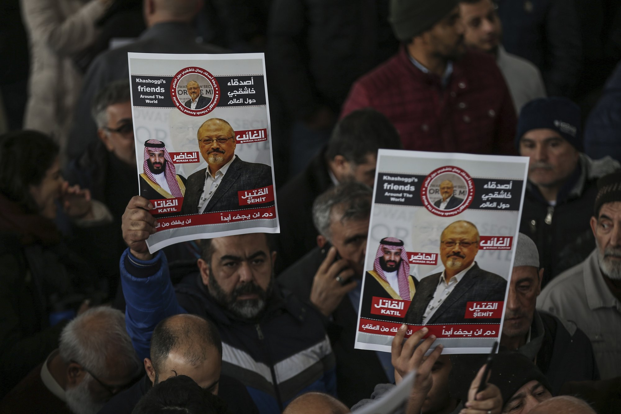 The members of Arab-Turkish Media Association and friends hold posters as they attend funeral prayers in absentia for Saudi writer Jamal Khashoggi who was killed last month in the Saudi Arabia consulate, in Istanbul, on Friday, Nov. 16, 2018. Photo: AP