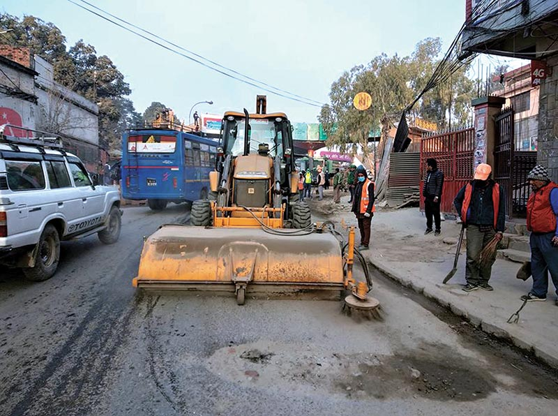 A broomer being used to clean a road in Kathmandu, on Saturday. Photo: RSS
