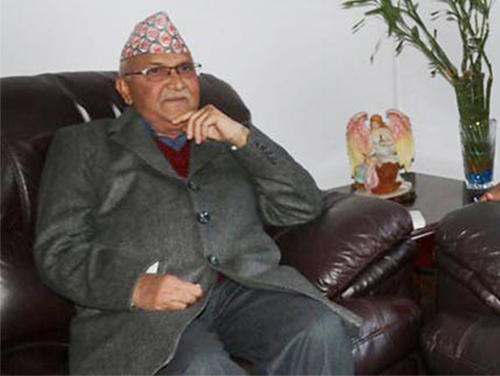 Prime Minister and Nepal Communist Party (NCP) Chair KP Sharma Oli in Kathmandu, on Friday, December 15, 2017. Photo courtesy: Dahal's secretariat