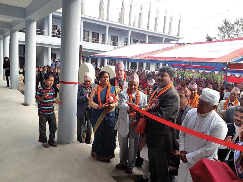 A newly constructed building of Gupteshwor Multiple Campus being inaugurated in Kaski, on Saturday. Photo: THT