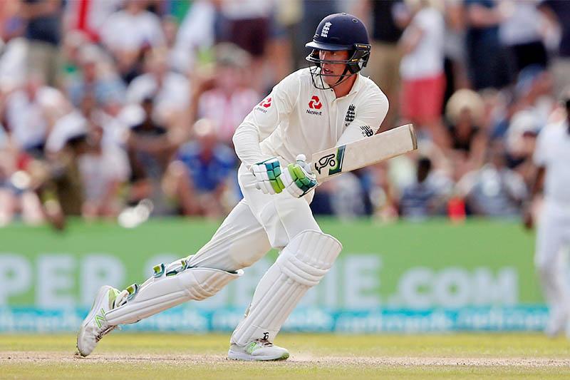 England's Keaton Jennings plays a shot. Photo: Reuters