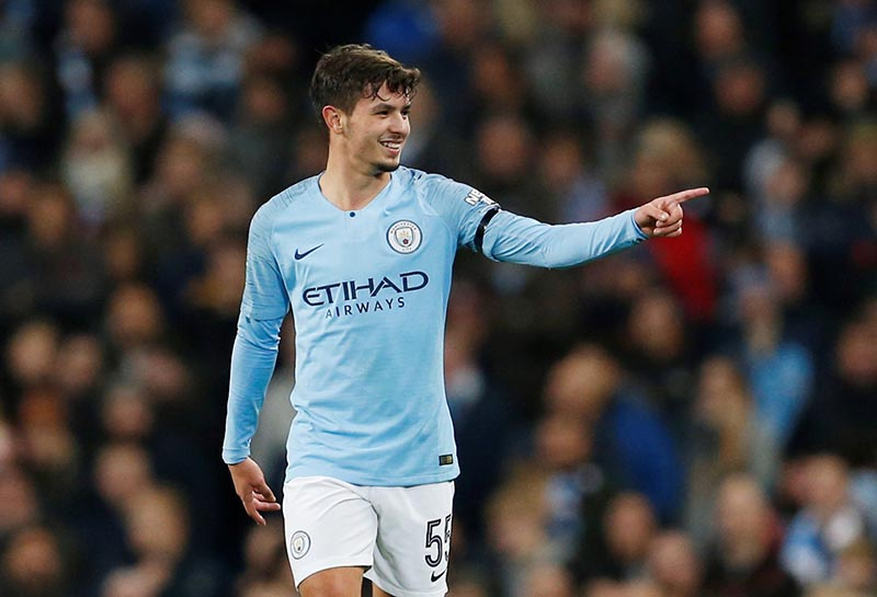 Manchester City's Brahim Diaz celebrates scoring their first goal during the Carabao Cup Fourth Round match between Manchester City and  Fulham, at Etihad Stadium, in Manchester, Britain, on November 1, 2018. Photo: Action Images via Reuters