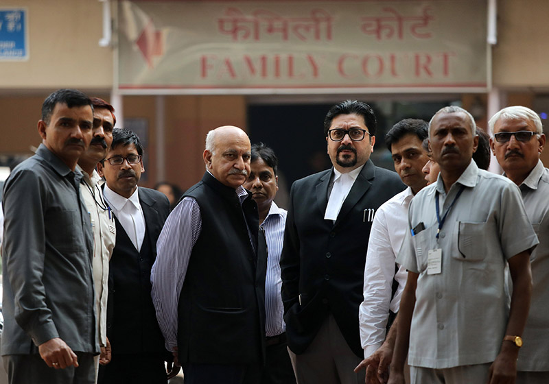 File - MJ Akbar (4th left), India's former Junior Minister for Foreign Affairs, leaves a court after a hearing in a defamation suit he filed against a female journalist in New Delhi, India, on October 31, 2018. Photo: REUTERS