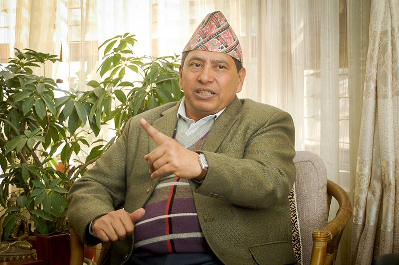 Interview with ruling Nepal Communist Party (NCP) Spokesperson Narayan Kaji Shrestha, in Lalitpur, on Saturday, November 17, 2018. Photo: Naresh Krishna Shrestha/THT