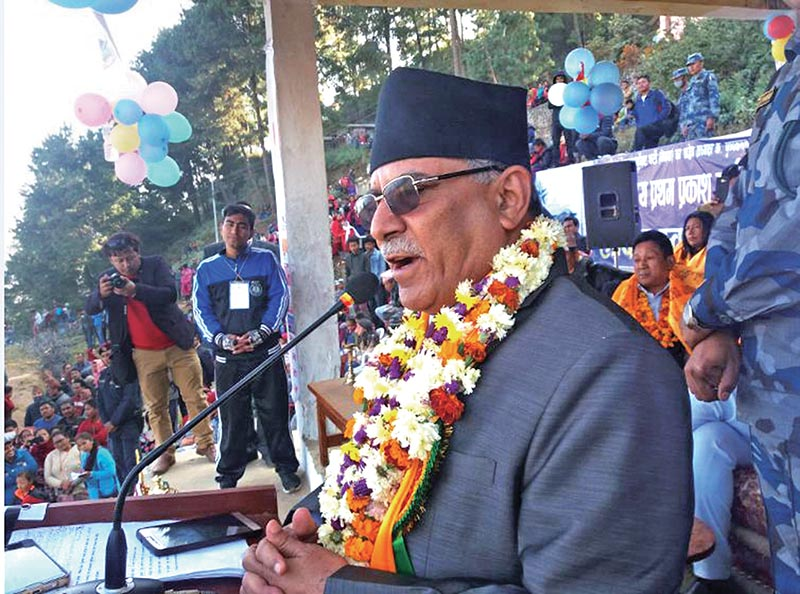 Nepal Communist Party (NCP) Co-chair Pushpa Kamal Dahal speaking at a programme in Dolakha, on Saturday. Photo: RSS