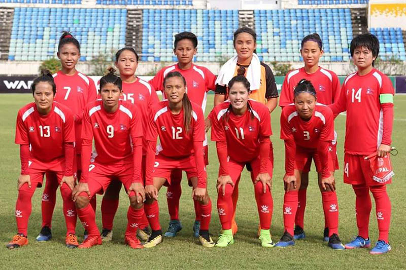 FILE: Nepal National Women's Football team players pose for a portrait before the game. Courtesy: ANFA/facebook