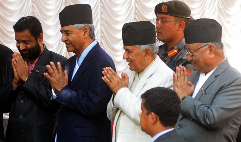 Nepali Congress leaders welcoming guests at the partyu2019s tea reception, in Kathmandu, on Friday, November 2, 2018. Photo: Balkrishna Thapa Chhetri