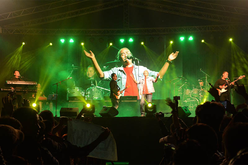 Nepathya perfoms live in concert in Birtamode. Courtesy: Saurav Mayer/Nepalaya