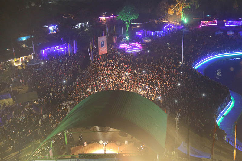 An arial view of Nepathya live-in-concert at Rabongla of Sikkim state in India. Courtesy: Nepathya