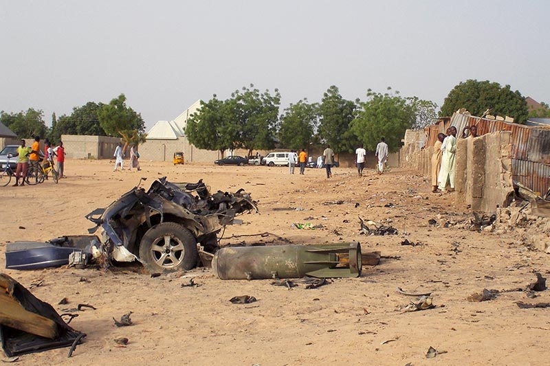 FILE PHOTO - A view shows the damage at the site of an attack by Boko Haram militants in the northeast city of Maiduguri, Nigeria April 27, 2018. Photo: Reuters