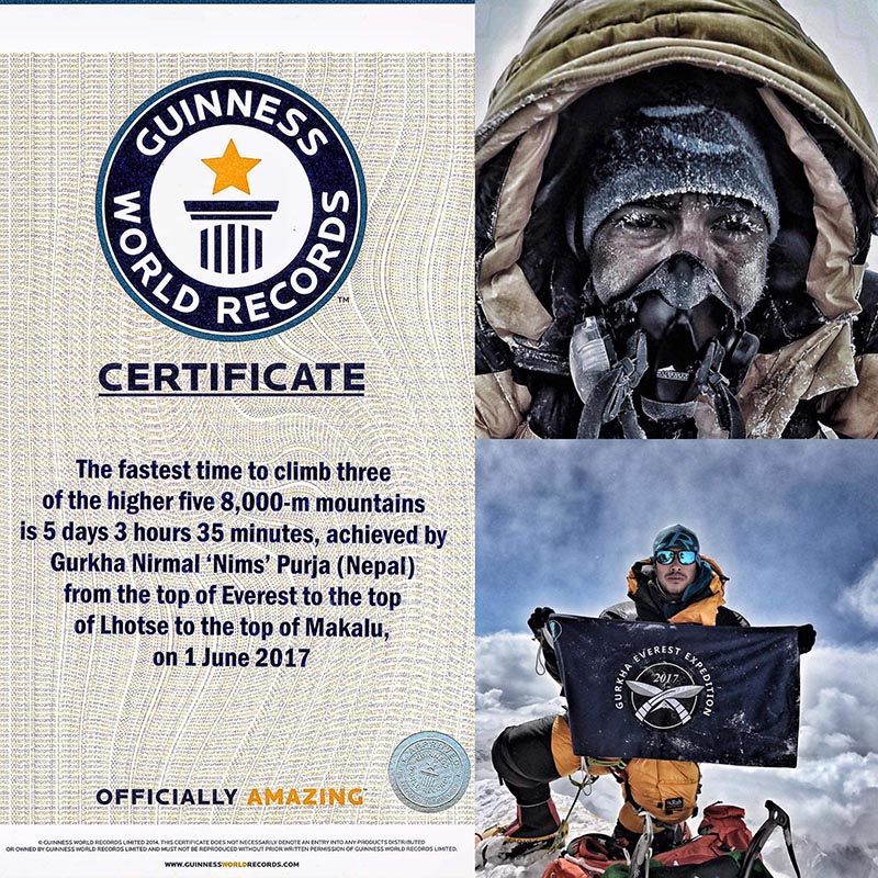 This image shows former Gurkha soldier (right top bottom) and Guinness World Records certificate for the fastest time to climb three of the higher five mountains above 8,000 metres. Photo: THT