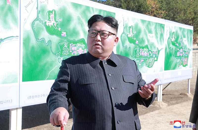 FILE PHOTO - North Korean leader Kim Jong Un inspects a construction site in Yangdeok, in this undated photo released on October 31, 2018. Photo:  KCNA/File Photo via Reuters