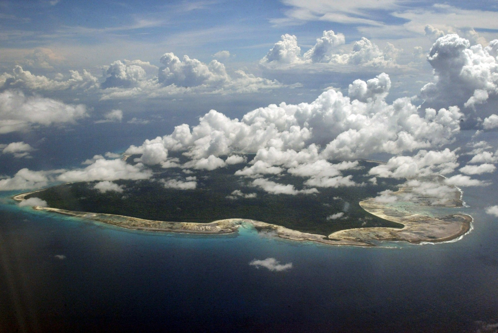 FILE u2013 In this photo, clouds hang over the North Sentinel Island, in India's southeastern Andaman and Nicobar Islands on Nov. 14, 2005. Photo: AP