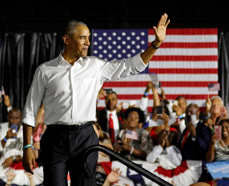 FILE - Former US President Barack Obama walks onstage as he campaigned for Democrats including US Senator Bill Nelson and and gubernatorial candidate Andrew Gillum, in Miami, Florida, on November 2, 2018. Photo: REUTERS