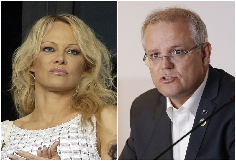 In this combination of file photos, on Oct. 7, 2018, actress Pamela Anderson applauds at the start of the League One soccer match between Marseille and Caen at the Velodrome stadium, in Marseille, southern France; left, and on Nov. 18, 2018, Australian Prime Minister Scott Morrison speaks during the Leaders Electrification Project meeting as part of the APEC 2018 at Port Moresby, Papua New Guinea. Photo: AP