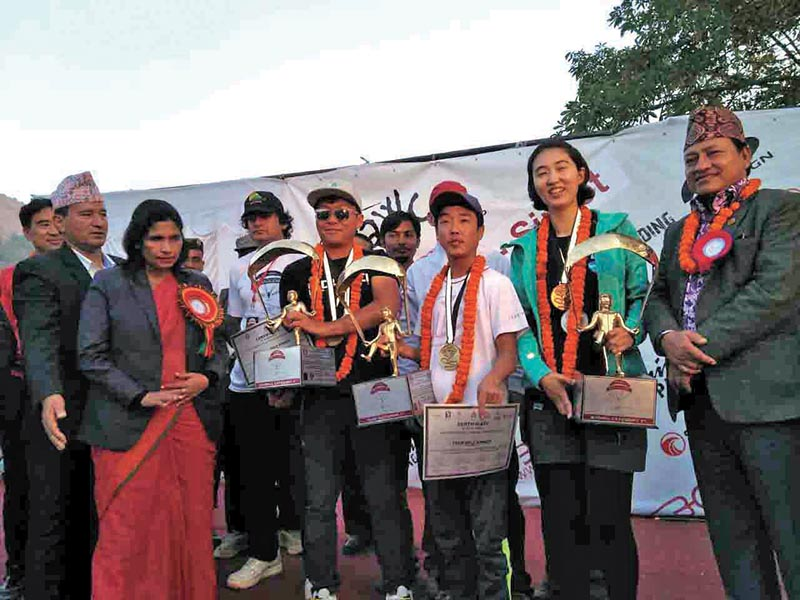 Winner of Paragliding Accuracy World Cup hold the trophies in Sirkot, Syngja on Sunday. Photo: THT