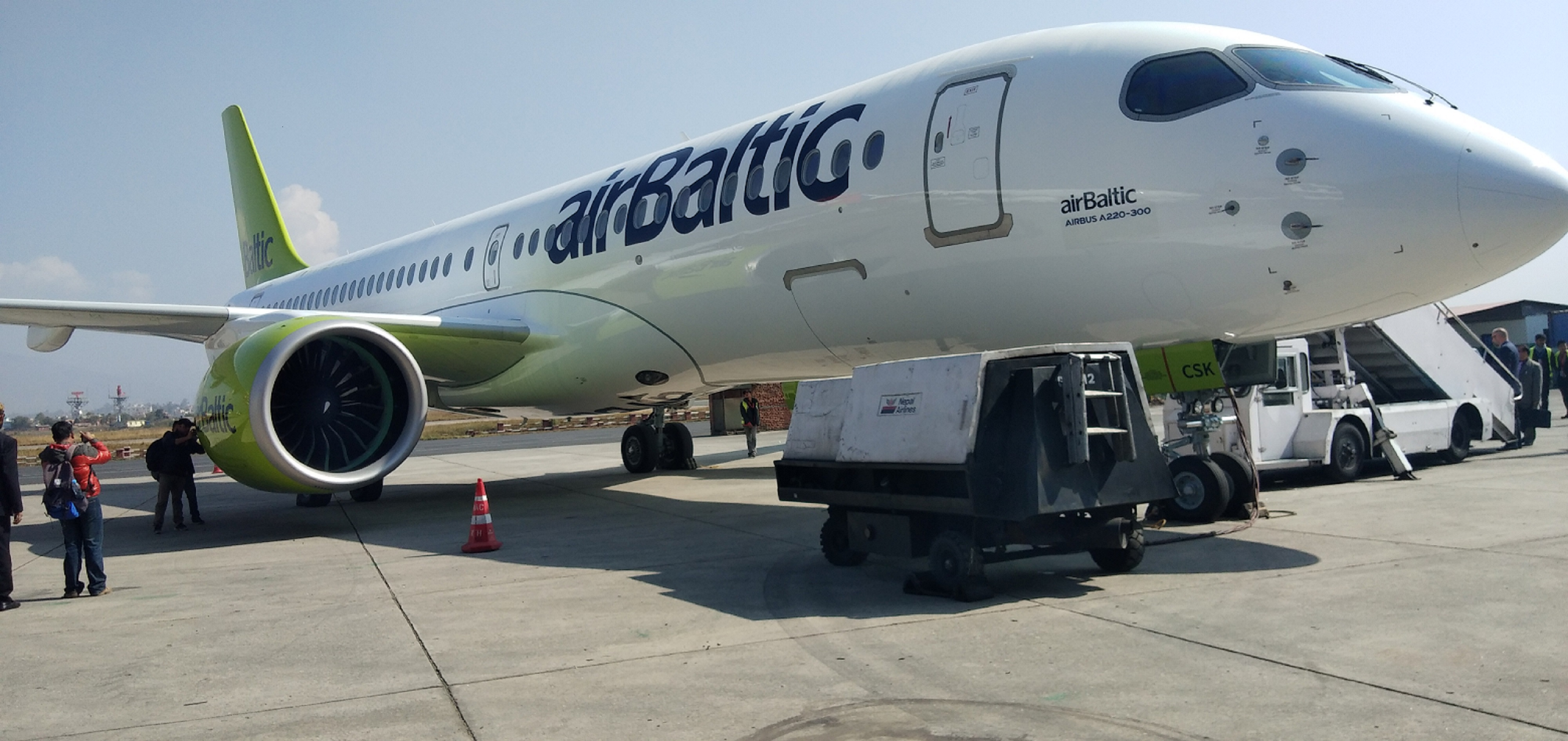 Airbus showcases the latest member of its commercial aircraft family at the Tribhuvan International Airport, Kathmandu, on Monday, November 12, 2018. Photo: Avian WE