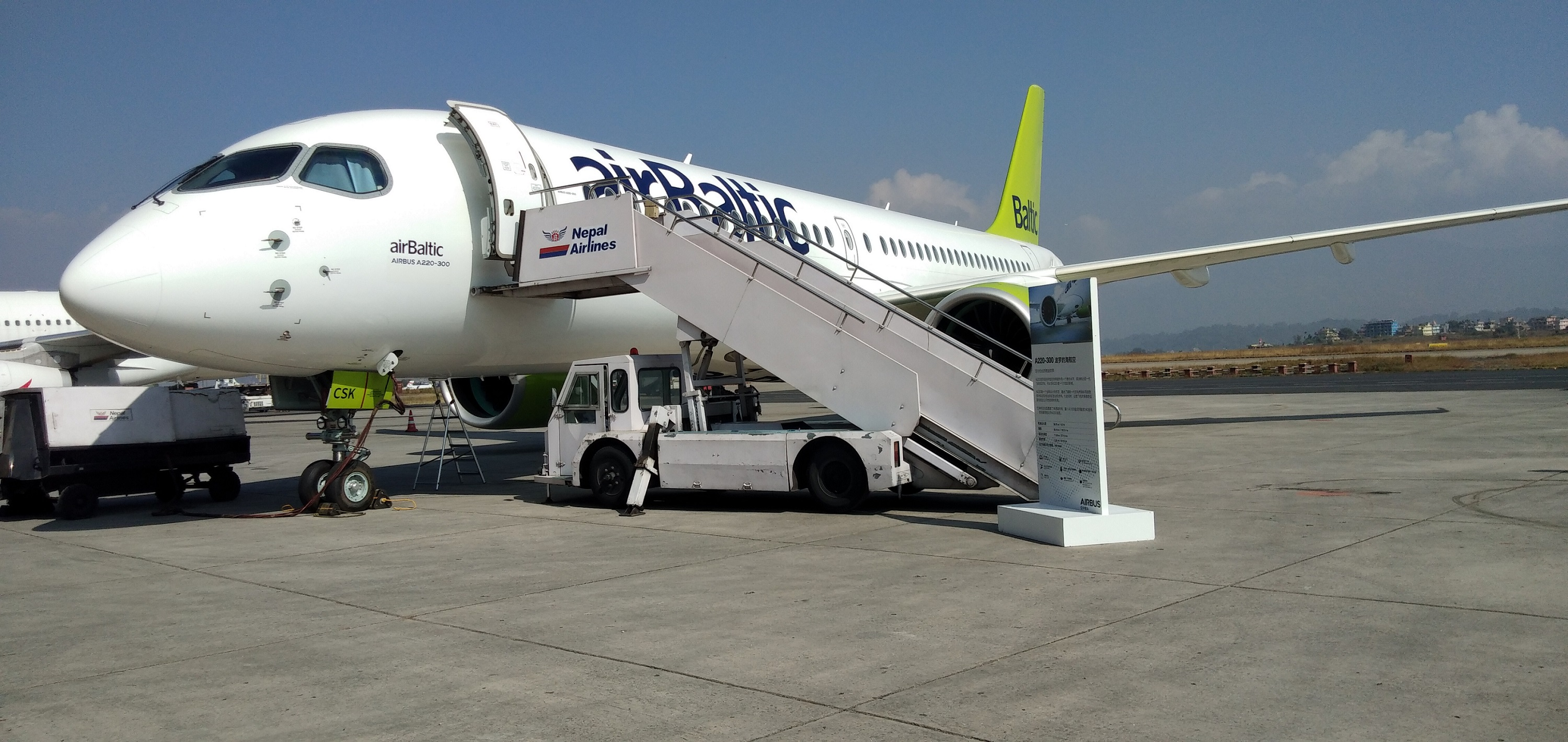 Airbus showcases the latest member of its commercial aircraft family at the Tribhuvan International Airport, Kathmandu on Monday, November 12, 2018. Photo: Avian WE