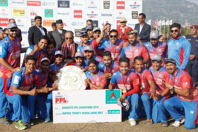 Pokhara Paltan players and officials pose for a portrait after winning the Namaste Pokhara Premier League T20 cricket tournament in Pokhara on Tuesday, November 06, 2018. Courtesy: Chhumbi Lama