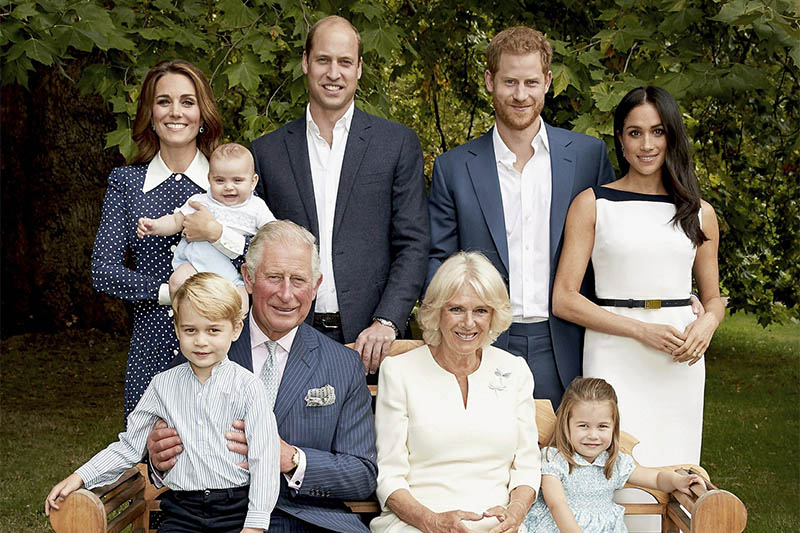 File: Britain's Prince Charles poses for an official portrait to mark his 70th Birthday in the gardens of Clarence House, with Camila, Duchess of Cornwall, Prince William, Kate, Duchess of Cambridge, Prince George, Princess Charlotte, Prince Louis, Prince Harry and Megan, Duchess of Sussex, in London, England. Courtesy: AP
