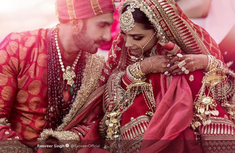 Bollywood stars Ranveer Singh and Deepika Padukone have a tu00eate-u00e0-tu00eate during their wedding ceremony. Courtesy: Ranveer/Twitter