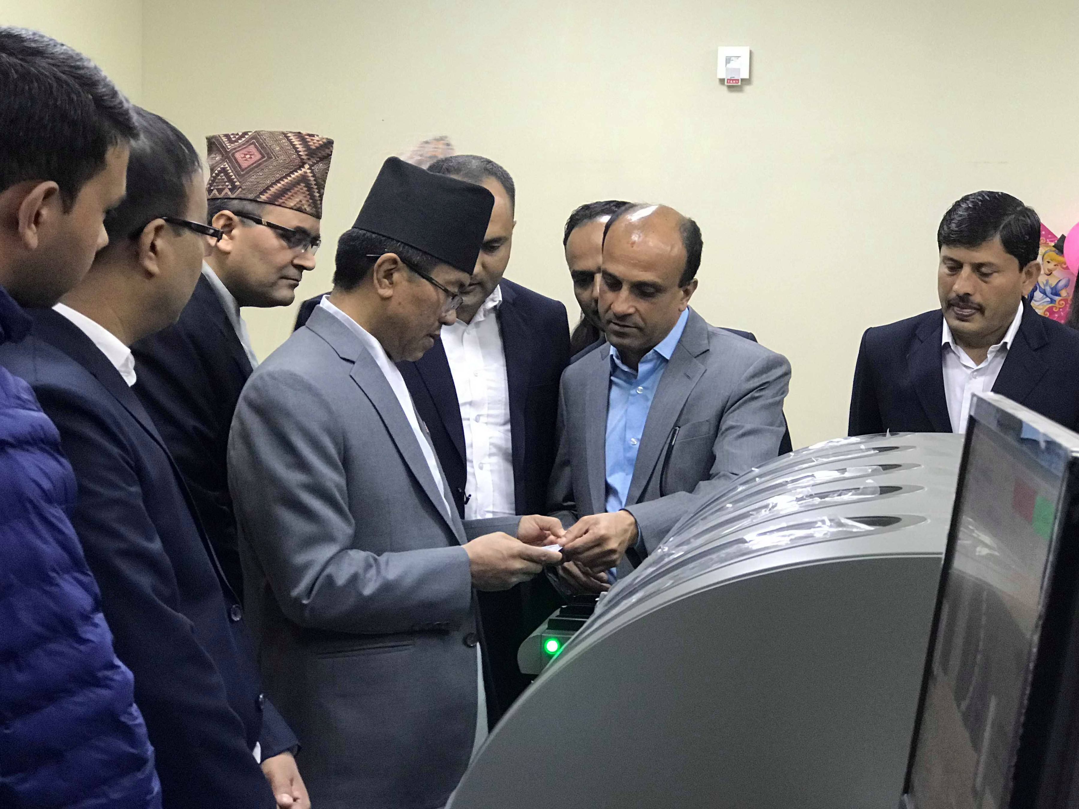 Home Secretary Prem Rai initiates printing of national identity cards at Singha Durbar, in Kathmandu, on Thursday, November 1, 2018. Photo: RSS