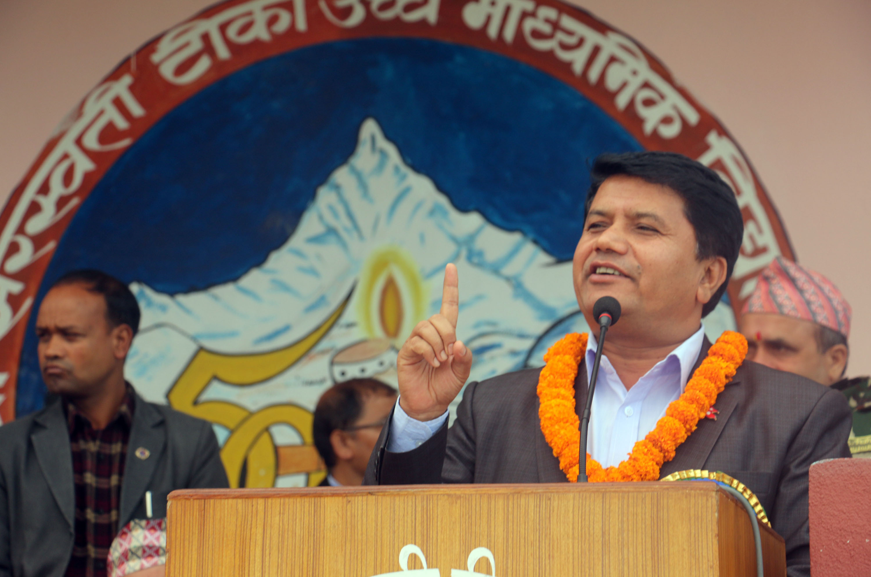 Minister Rabindra Adhikari speaks at the inguartion of newly constructed building of Saraswati Secondary School in Pokhara on Saturday, November 17, 2018. Photo:RSS