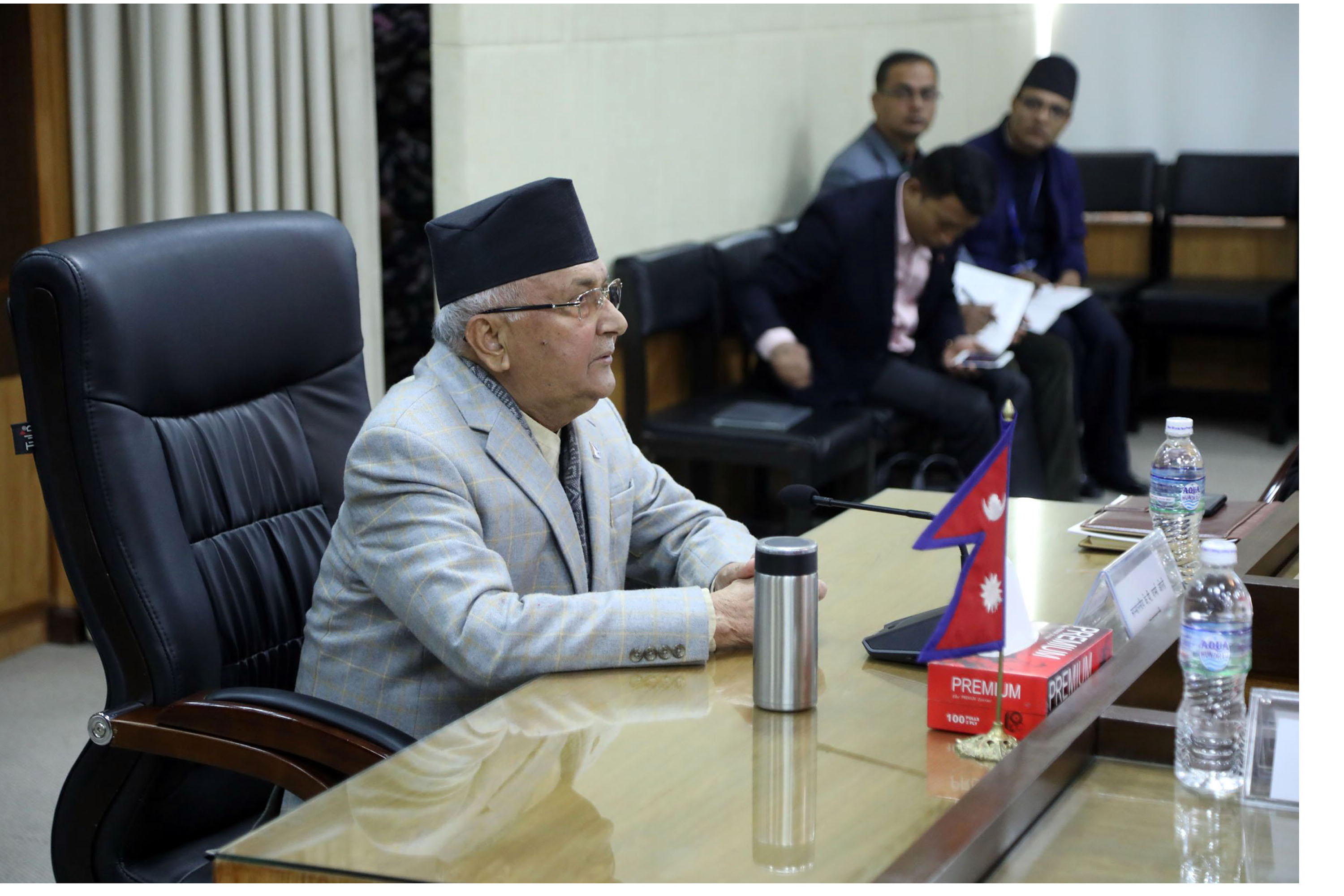 Prime Minister KP Sharma Oli at the second day session of the First Quarterly Review of Approved Programmes and Budget for Fiscal Year 2018/19 held in Kathmandu on November 22, 2018. Photo: RSS