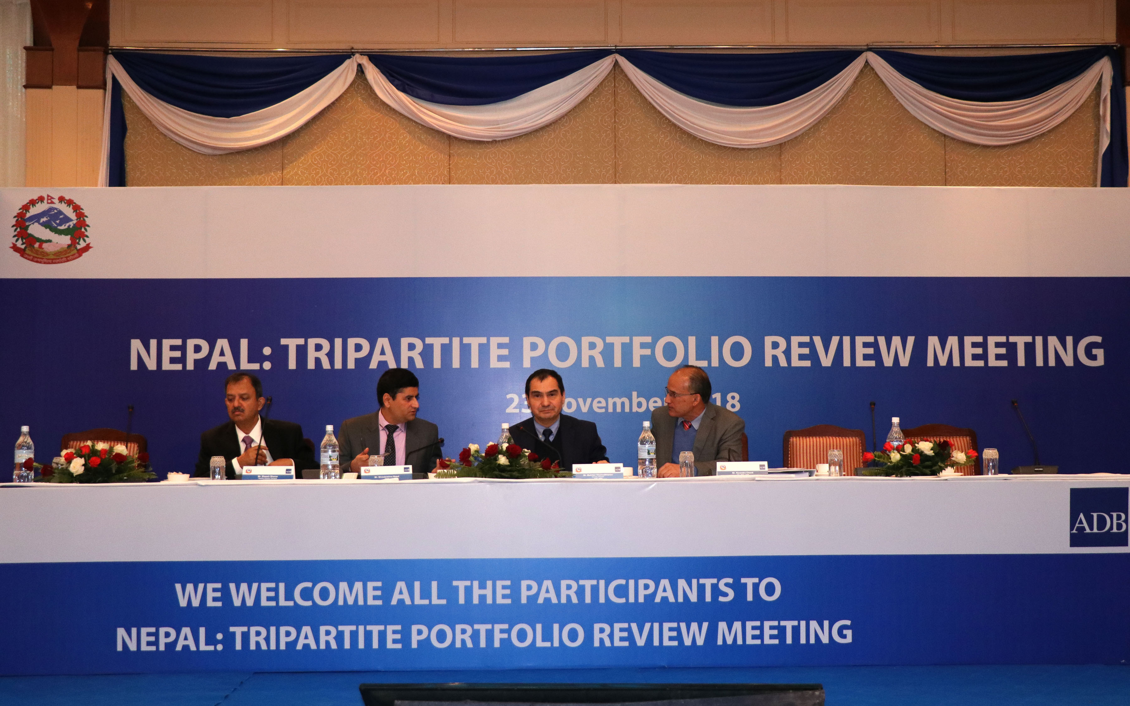 Officials from ADB and Nepal government at a Tripartite Portfolio Review Meeting of Asian Development Bank held in Kathmandu, on November 23, 2018. Photo: RSS