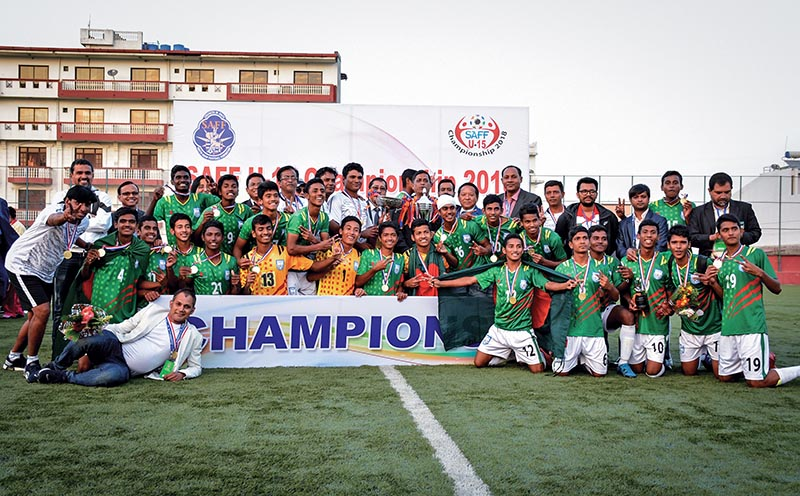 Bangladesh team members celebrate with officials after winning the SAFF U-15 Football Championship in Lalitpur on Saturday. Photo: Naresh Shrestha/ THT