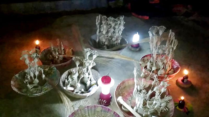 This image shows the idols of Sama-Chakeva made of clay and ready to be decorated by the women in Kanchira area of Khadak Rural Municipality-3 in Saptari district, on October 31, 2017. Photo: Suresh Chaudhary/THT