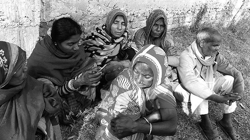 Relatives mourning the death of their family members in Fridayu2019s bus accident, in Saptari, on Saturday. Photo: THT