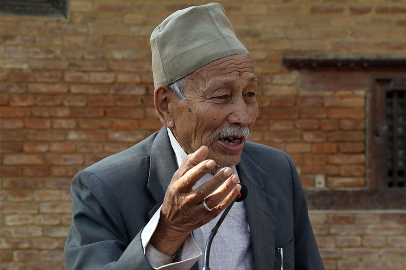 FILE - Satya Mohan Joshi speaks at a programme organised on the occasion of Patan Museum's 21st anniversary in Lalitpur on Tuesday, November 13, 2018. Photo: RSS