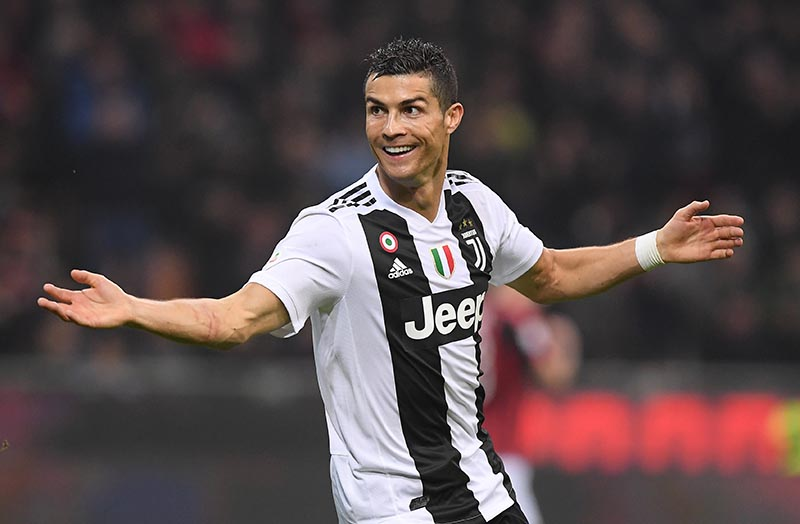 FILE: Juventus' Cristiano Ronaldo celebrates scoring their second goal during the Serie A match between AC Milan and Juventus, at San Siro, in Milan, Italy, on November 11, 2018. Photo: Reuters