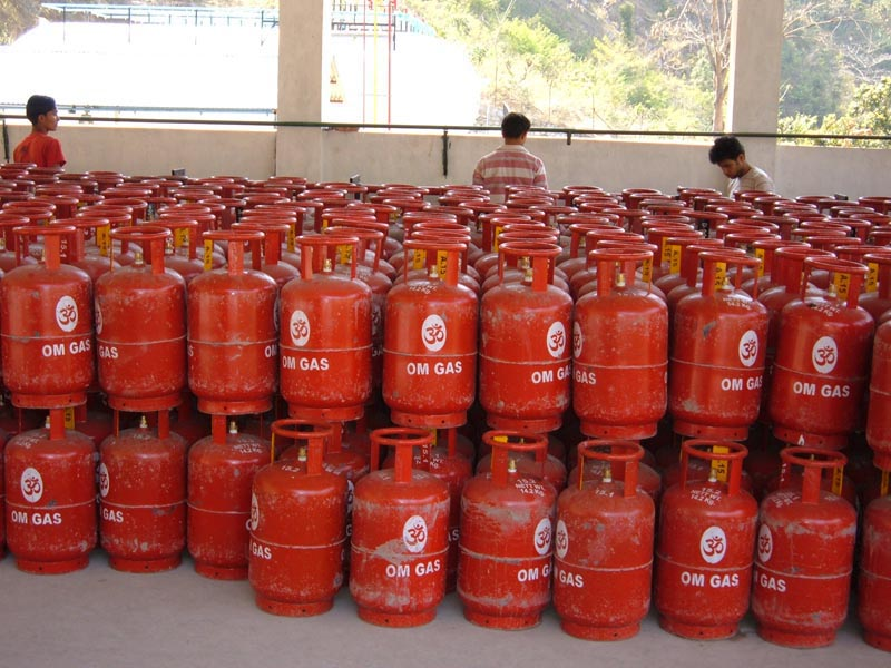 A view of liquified petroleum gas (LPG) cylinders stored at Shree Maya Gas Udyog Pvt Ltd, in Bishaltar, Benighat Rorang Rural Municipality of Dhading district, on Thursday, November 22, 2018. Photo: Keshav Adhikari/THT