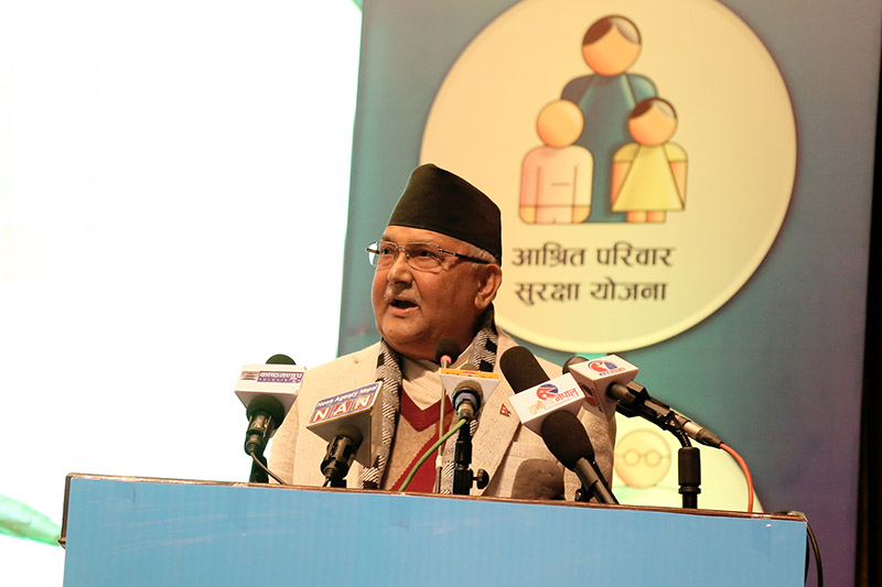Prime Minister KP Sharma Oli addressing the special programme organised to unveil the Social Security Scheme, in Kathmandu, on Tuesday, November 27, 2018. Photo: RSS