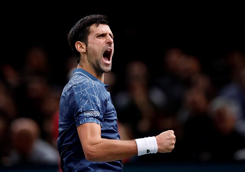 Serbia's Novak Djokovic reacts during his semi final match against Switzerland's Roger Federer in  the ATP 1000, Paris Masters, at AccorHotels Arena, in Paris, France, on November 3, 2018. Photo: Reuters