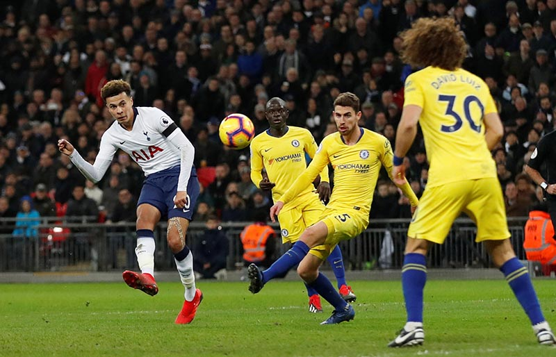 Tottenham's Dele Alli shoots at goal during the Premier League match between Tottenham Hotspur and Chelsea, at Wembley Stadium, in London, Britain, on November 24, 2018. Photo: Action Images via Reuters