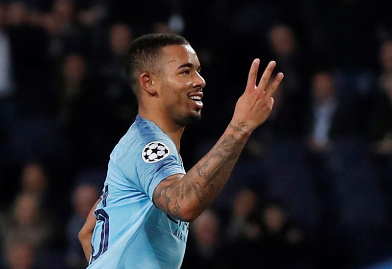 Manchester City's Gabriel Jesus celebrates scoring their sixth goal to complete his hat-trick during the Champions League Group Stage match of Group F between Manchester City and Shakhtar Donetsk, at Etihad Stadium, in Manchester, Britain, on November 7, 2018. Photo: Action Images via Reuters