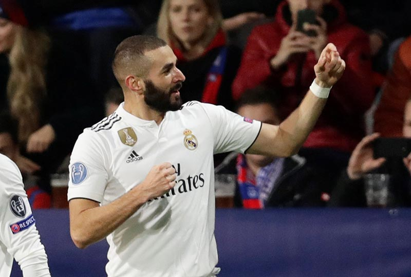 Real Madrid's Karim Benzema celebrates scoring their first goal during the Champions League Group Stage match of Group G between Viktoria Plzen and Real Madrid, at Doosan Arena, in Plzen, Czech Republic, on November 7, 2018. Photo: Reuters