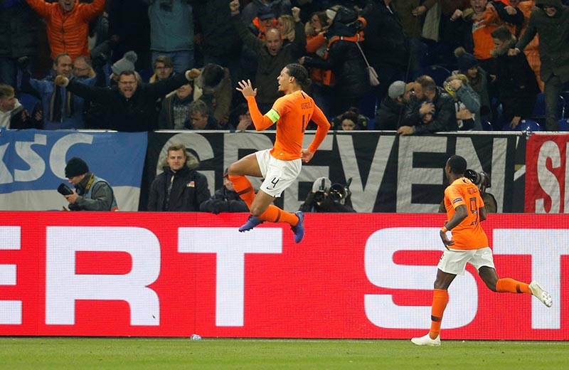 Netherlands' Virgil van Dijk celebrates scoring their second goal during the UEFA Nations League League A  Group 1 match between Germany and Netherlands, at Veltins-Arena, in Gelsenkirchen, Germany, on November 19, 2018. Photo: Reuters