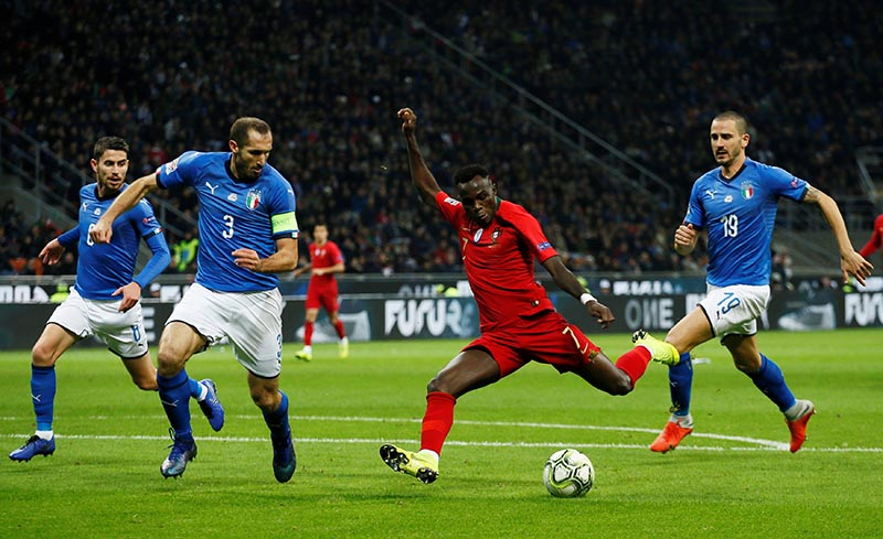 Portugal's Bruma in action with Italy's Leonardo Bonucci and Giorgio Chiellini during the UEFA Nations League League A  match of Group 3 between Italy and Portugal, at San Siro, in Milan, Italy, on November 17, 2018. Photo: Reuters