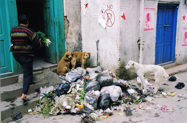A man walks past a pile of garbage wrapped in plastic bags in front a house in Kathmandu. Photo: Pamela Matin/ treklens